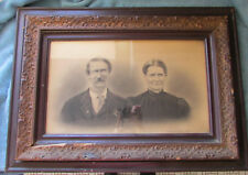 "Antique Mid 1800s Charcoal Portrait Drawing Couple in Original Frame 25"" x 21"""