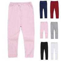Kid's Girl's Toddler Solid Color Casual Knitting Elastic Leggings Pants Trousers