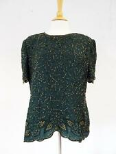 Pretty VINTAGE Green Beaded TOP by JMD of New York     Size XL           270 G