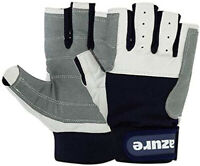 SAILING GLOVES AMARA LEATHER GREY NAVY YACHTING BOATING ROPE GLOVES C/F