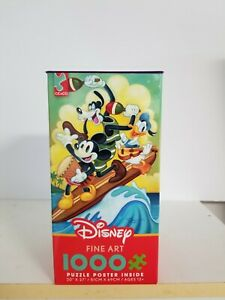 1000 Piece Puzzle Disney Mickey Mouse Donald Goofy Surf Trio Jigsaw With Poster