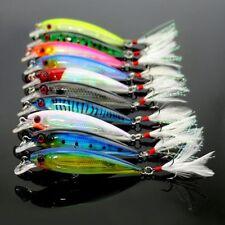 NEW Lot 10pcs Minnow Fishing Lure Bait Bass Crank Bait Tackle Feather Hook 10cm