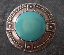 VICTORIAN ARTS & CRAFTS RUSKIN  POTTERY BROOCH PIN in SILVER FRONT MOUNT 1890