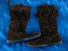 Jones Boots Tassels Tan Brown Girls Ladies Kids Suede Cowboy Womens Size 37 UK 4