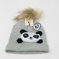 Cat & Jack Infant's Gray Panda Print Beanie Hat W/Mittens Set NEW
