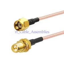"Cable RP SMA male jack to RPSMA female plug bulkhead RG316 Jumper pigtail 6"" FPV"
