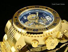 NEW Invicta 52mm PRO DIVER Quartz Chronograph Gold Tone Blue Dial Bracelet Watch