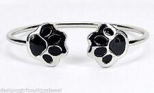 Paw Print Wire Cuff Metal Bangle Bracelet Silver Black