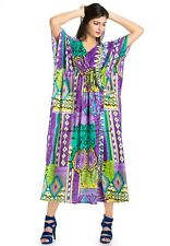 Plus Size Summer Boho Hippie Women Long Sleeve Loose Kaftan Long Maxi Dress