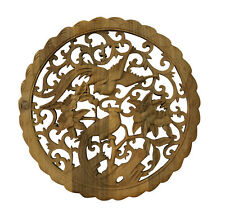 Chinese Round Wood Flower Birds Wall Plaque Hanging Panel cs3352