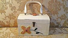 VINTAGE One-of-a-Kind HIPPIE WOOD BOX PURSE Paper Mache' FLOWER POWER Design