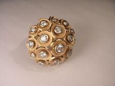 Stunning Designer 18K Pink Rose Gold Huge Diamond Dome Cocktail Ring