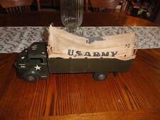Vintage MARX LUMAR U.S. Army Transport Pressed Steel Truck CANVAS TOP TOY LITHO