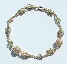 """Elephant bracelet with Balls & Colored Stones 7""""1/2 inch 14k Gold Filled"""