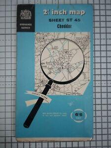 OS 2½ inch Vintage  Map Of Cheddar Somerset England Vintage 1959