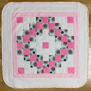"""Handmade Baby Girl's Quilt XL 40"""" x 40"""" Pink Floral Patchwork Crib Nursery New"""