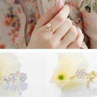 del anillo de dedo Abalorios de aleacion de zinc Crystal Flores y hojas