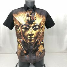Carbon Men's Small Slim Fit Button Up Shirt Short Sleeve Egyptian Print