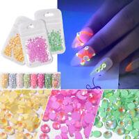 Mixed Nail Rhinestones Crystal Luminous Gems Glow In The Dark 3D Nail Art Decor