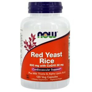 NOW Foods Red Yeast Rice with CoQ-10 30mg 600 mg., 120 Vegetarian Capsules