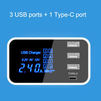 USB 4 Ports Type-C Multi-Function Fast Rapid Wall Travel Charger Power Adapter