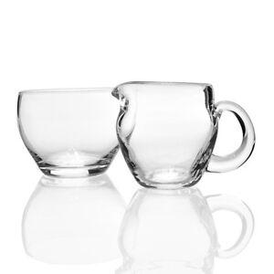 Lindshammar - Individual Crystal Glass Creamer Set - 1960s Swedish Glass