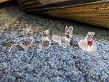 Swarovski + Cfl Crystal Lot Of 4 Animal Figurines - Penguin, Cat, Fox, Bear