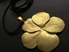 Long BLACK suede necklace with A Huge MATT GOLD FLOWER DAISY pendant LAGENLOOK