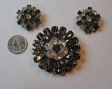 Vintage Weiss Signed Demi Parure Rhinestone Earrings and Brooch