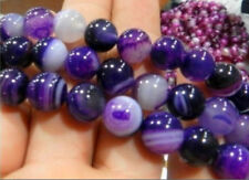 """6mm Natural Striped Purple Agate Onyx Round Gems Loose Beads 15"""""""
