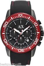 ARMANI EXCHANGE BLACK SILICONE BAND+RED CHRONOGRAPH DATE WATCH AX1204-NEW