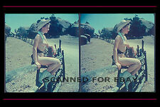 Cowgirl boots 3d stereoview print Nude leggy legs girl female photo stetson hat