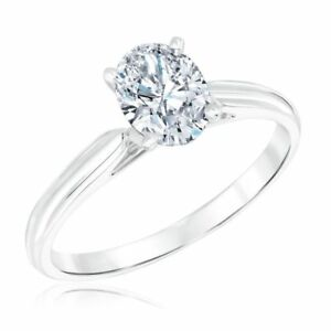 1C Cathedral Style Four Prong Oval Solitaire Engagement Ring VVS/D 14K Gold Over