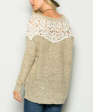 Beige & White Crochet Oversize Sweater - Avenue Hill