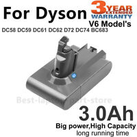 for Dyson Replacement Battery V6 Animal, DC58 ,DC59, DC61 DC62,Absolute. 3000mAh