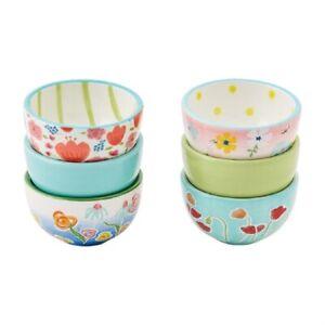 Mud Pie E1 Botanica Ceramic Floral Ramekin 3pc Set 3in 48500189 Choose Design