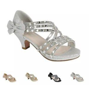 Girls' Wedding slip on Wedge heel party prom shoes glitter rhinestone
