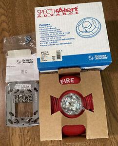 SYSTEM SENSOR PC2R HORN STROBE CEILING RED, FIRE ALARM, MULTI CD, MULTI TONE