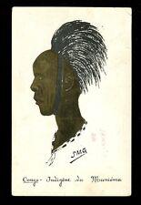 France Cols Africa CONGO Indigene du MANIEMA artist drawn SMG vintage 1944 PPC