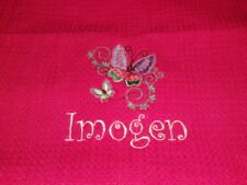 TEA TOWEL personalised embroidered PRETTY BUTTERFLY add a name for FREE