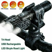 LED Mountain Bike Lights Rechargeable 18650 Bicycle Torch Front & Rear Lamp Set~