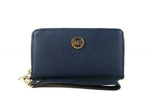 Michael Kors Fulton Large Flat Multi Function Leather Phone Case Wallet,Navy,New