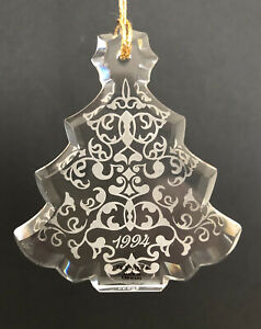 Lenox 1994 Christmas Tree Ornament Crystal Etched