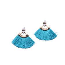 Boucles d`Oreilles Clous Doré Gros Triangle Pompon Tissu Bleu XX 15