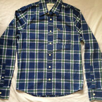 ABERCROMBIE & FITCH MEN'S MUSCLE L/S PLAID DRESS SHIRT MEDIUM