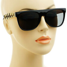 Leaf Print Gold Metal Arms Womens Mens Flat Top Sunglasses Glossy Black