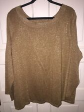 Lane Bryant Gold Metallic Scoop Neck Knit Shirt Top Plus 22/24 Holiday Party Top