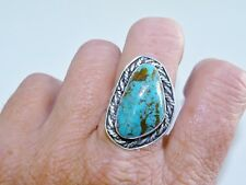 GENUINE!! 23x13mm Arizona Turquoise Handmade Ring Solid Silver 925!