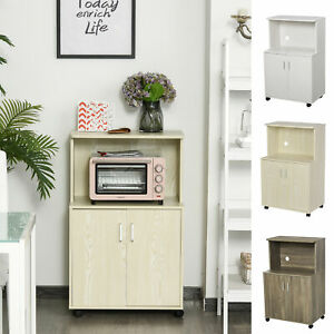 Wooden Microwave Cart on Wheels Storage Shelf 2-door Cabinet Trolley