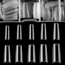 New ListingPuntas Tips Uñas Postizas Clear Half Cover Salon Acrilicas 500Pack Coffin Nails